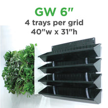 "Our green wall vertical planter kit for 6"" grow pots comes with four trays per grid."