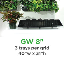 "Plantups Green Walls Vertical Planter Kit for 8"" Grow Pots comes with 3 Trays per Grid 40"" wide"