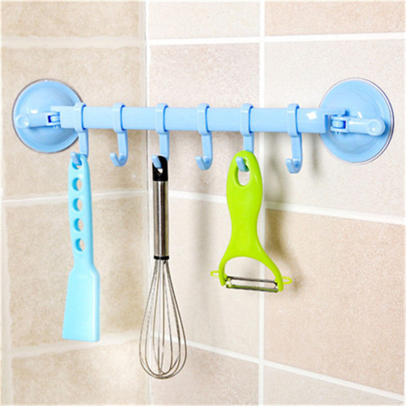 Suction cup rack with hooks