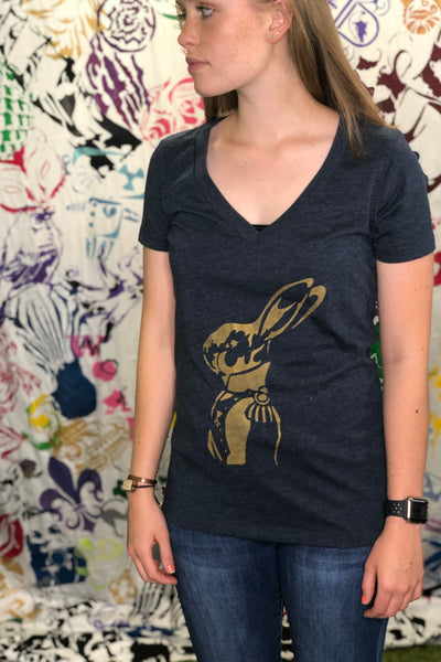 Regal Rabbit Ladies V-Neck T-shirt