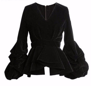 Black Velvet Cake Peplum Top