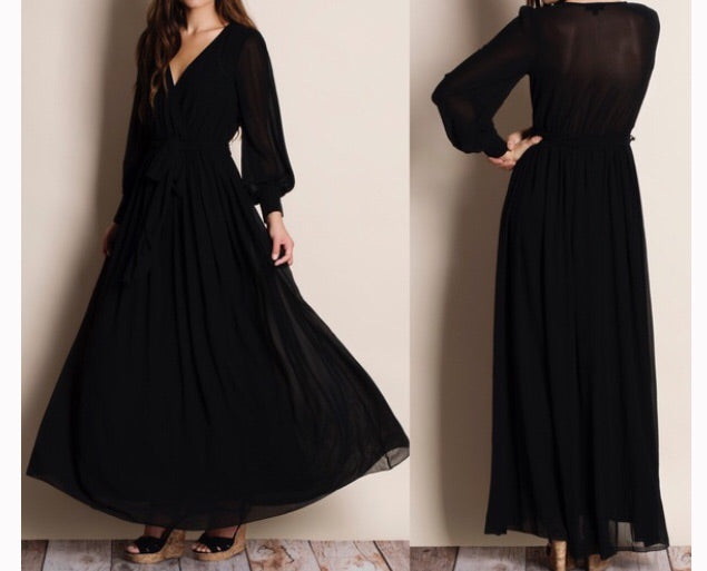 Black Luxe Wrap Dress