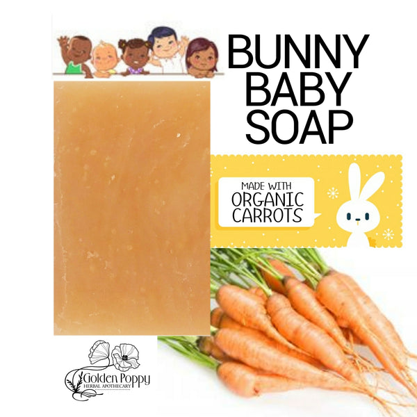 Baby Bunny handmade organic carrot Soap for kids & babies made with ingredients from Golden Poppy Herbal Apothecary, Fort Collins