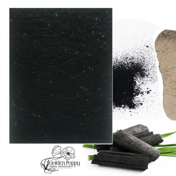 Activated Charcoal Black Facial Soap made with ingredients from Golden Poppy Herbal Apothecary, Fort Collins