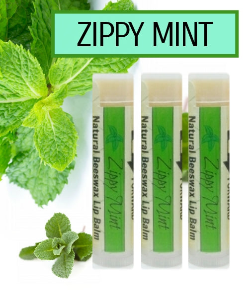 Set of 3 Zippy Mint Natural Beeswax Lip Balm