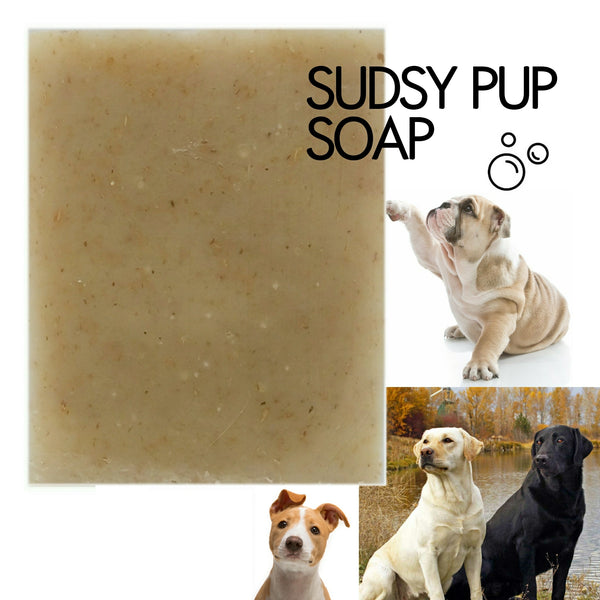 Sudsy Pup pet soap with neem oil handmade with ingredients from Golden Poppy Herbal Apothecary, Fort Collins