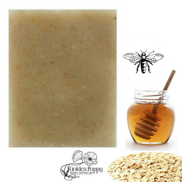 Sweet & Soothing Honey Oat handmade Soap made with ingredients from Golden Poppy Herbal Apothecary, Fort Collins