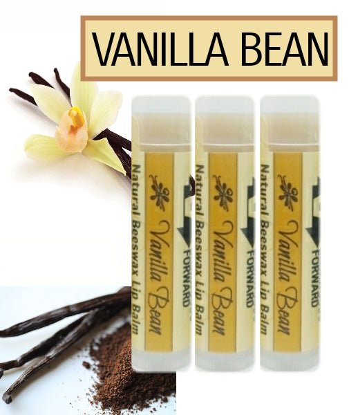 Set of 3 Vanilla Bean Natural Beeswax Lip Balm