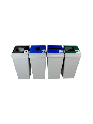 Smart Sort - Quad Bins - Organics/Cans & Bottles/Paper/Waste