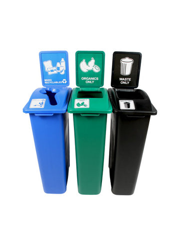 Waste Watcher® - 3 Bins w/ Sign Frames - Mixed Recyclables/Organics/Waste