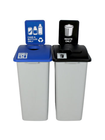 Waste Watcher® - Double XL Bins w/ Sign Frames - Cans & Bottles/Waste