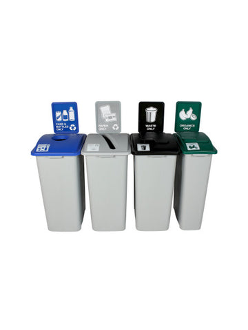 Waste Watcher® - Quad Combo Bins w/ Sign Frames - Cans & Bottes/Paper/Waste/Organics