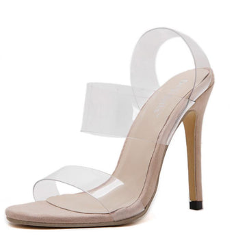 Two Strap PVC Clear Heels