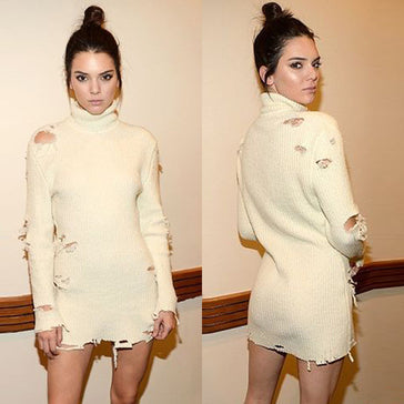 Kendall Long Sleeve Beige Ragged Dress
