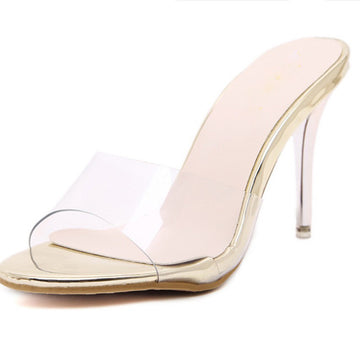 One Strap PVC Clear Heels