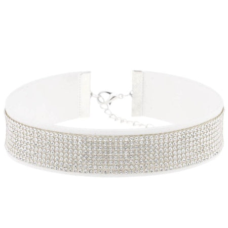 Crystal Choker with Leather Collar