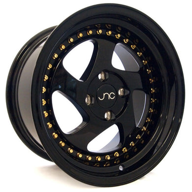 JNC 034 - Gloss Black & Gold Rivets