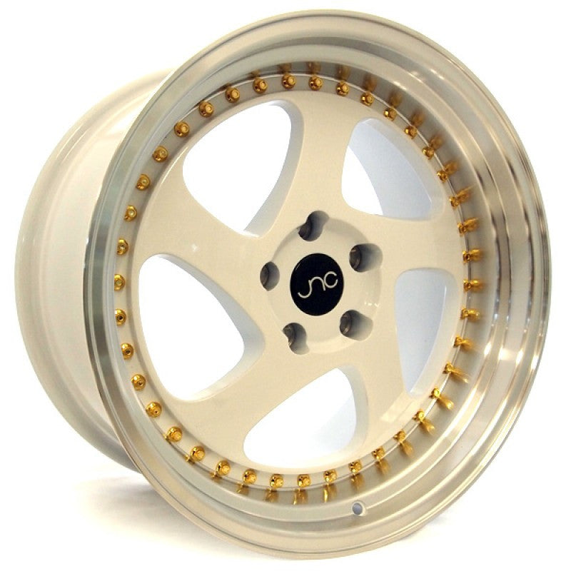 JNC 034 - White w/ Machined Lip & Gold Rivets
