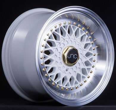 JNC 004S -  White w/ Machine Lip & Gold Rivets