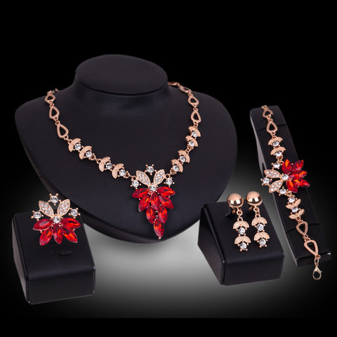 Luxury Leaves Necklace Flower Set