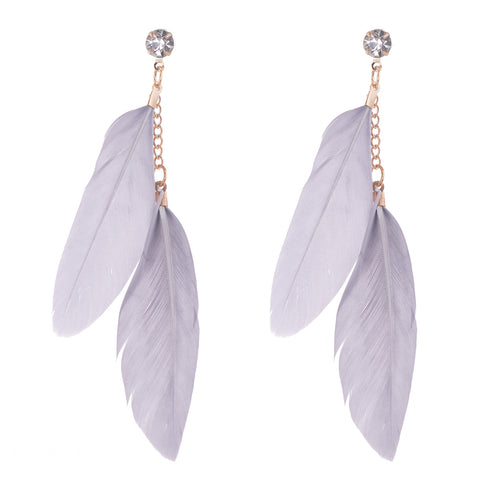 Light Gray Feather Earrings