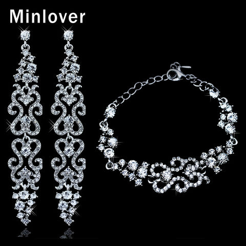 Crystal Silver Plated Bridal Long Earrings and Bracelets