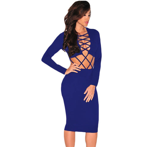 Sexy Blue Women Night Club Dress