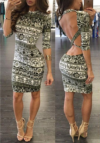 Backless Half Sleeve Print dress