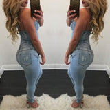 Beautiful Halter Lace Up Denim Jumpsuit