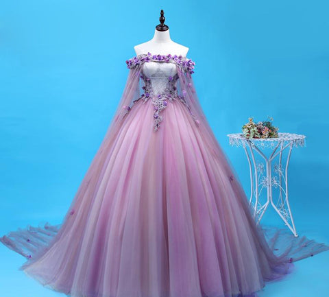Sweet Purple Lace Flower Gown