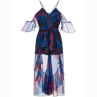 Beautiful Ruffle Blue Organza Floral Dress