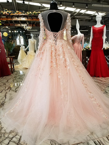 Pink Flower Lace Gown