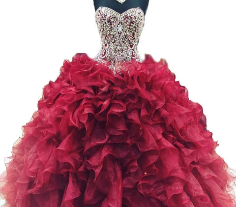 Crystal Beads Burgundy Quinceanera Dress