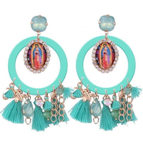 Beautiful Virgin De Guadalupe Tassel Earrings