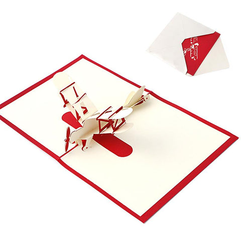 $2.60- 3D Pop Up Holiday Greeting Cards Paper Airplane Christmas Thanksgiving Gift New Y102