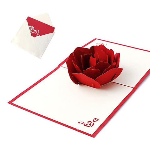 $3.14- 3D Pop Up Holiday Greeting Cards Red Flower Christmas Thanksgiving Creative Gift Y102