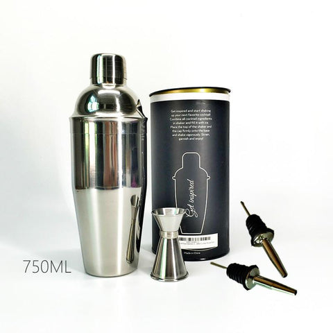 $26.98- Premium 4 Pieces Bar Set: 750Ml Stainless Steel Cocktail Shaker 1530Ml Double End Jigger 2 Pourers High Grade Barware