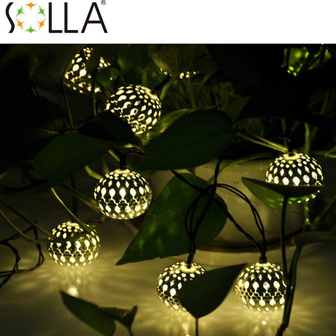$21.92- 2016 10Led Moroccan Solar Sun String Lanterns Warm White Led Fairy Lights Garden Party Christmas Decoration Ball Lamp