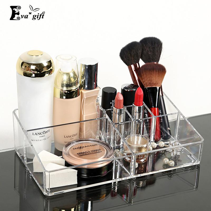 $18.61- Crystal Acrylic Cosmetic Organizer Clear Makeup Jewelry Cosmetic Storage Display Box Acrylic Case Stand Rack Holder Organizer