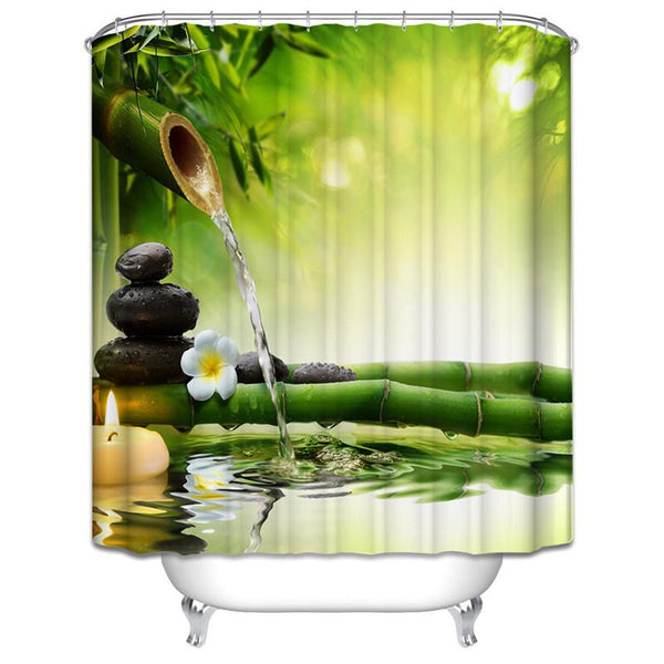$21.28- Spa Waterproof Shower Curtain Bathroom Decor Jasmine Flower Decorations Green Bamboos / Fall Trees / Star Fish Sea Shell