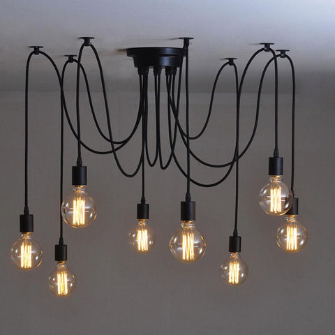 Black Wrought Iron Pendant Lights Nordic American Village Vintage Art Deco Pendant Lamp Living Room Light Fitting 4 Lights
