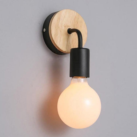 $29.97- Modern Simple Nordic Creative Personality Wood Iron Corridor Bedside Toilet Wall Light