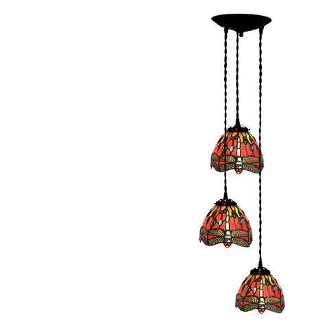 $166.28- Tiffany Pendant Light Restaurant Led Stained Glass Suspension Lamp Creative Art 3 Lights Lamp Bar Hotel Project Lightings