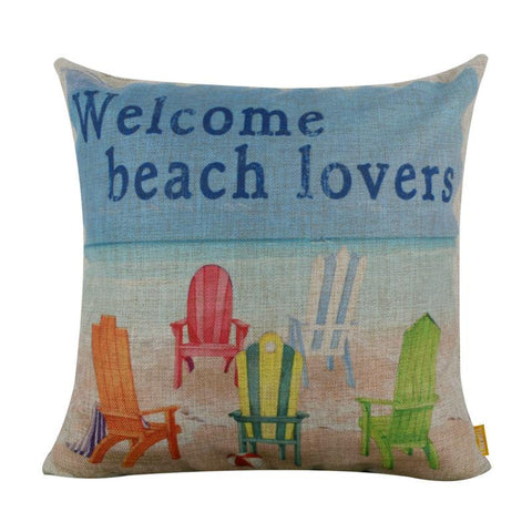 $18.53- LINKWELL 18x18 Fashion Beach Chair Welcome Beach Lovers Burlap Cushion Cover Pillowcase for Sea Marine Nautical Coastal Room