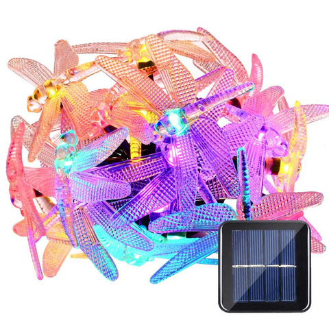 $19.75- Ship From Spain4.8M 20 Led Multi Color Dragonfly Solar Sun Fairy String Christmas Lights 8 Modes For Halloween Lights Decoration