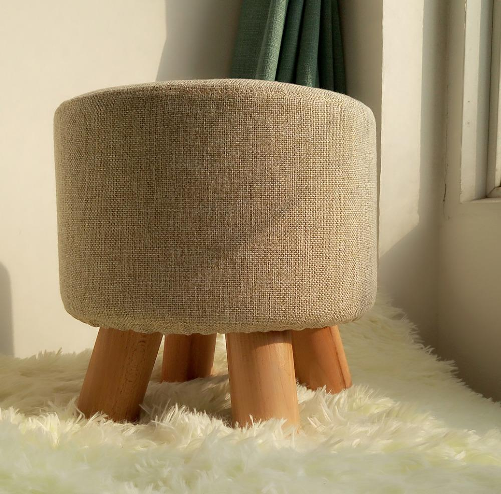 $97.26- Wooden Ottoman Stool Round Fabric Sofa Stool Footstool Detachable Fabric Pouf Chair Modern Wood Stool