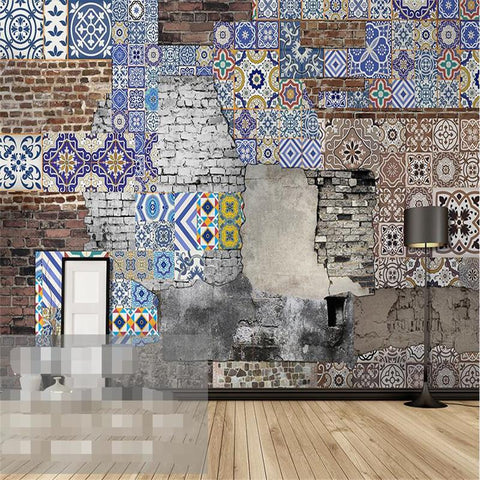 $21.19- Modern Wallpaper3D Background Large Painting Bohemian Pattern Brick Murales De Pared Hotel Badroom Wall Mural For Living Room