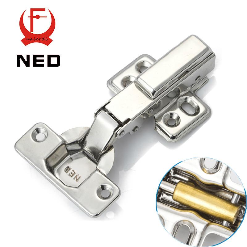 Ned Full Size 304 Stainless Steel Hydraulic Hinge Pure Copper Damper Buffer Cabinet  Cupboard Door Hinges Furniture Hardware