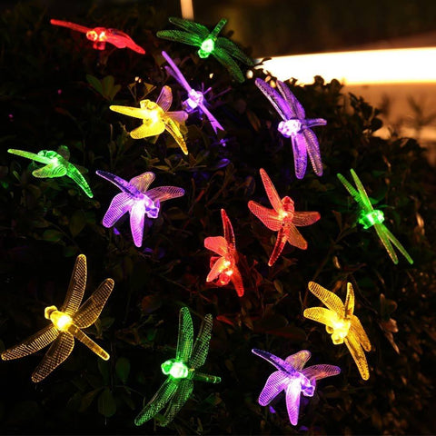 $19.48- Solar Sun Powered Outdoor String Lights Dragonfly 6M/19.7Ft 30 Leds Starry Lighting Christmas Decorations For Home Garden Light