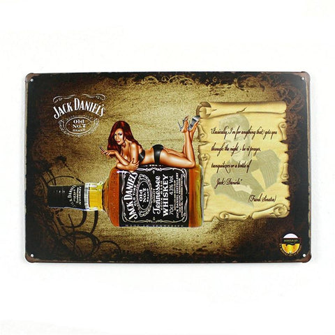 $12.54- Jack Daniels Old Time Whiskey Vintage Home Decor 20*30 Shabby Chic Metal Sign Bar Cafe Pub Vintage Wall Decor
